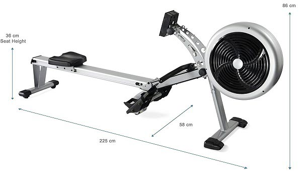 JTX Freedom Air Rower Dimensions