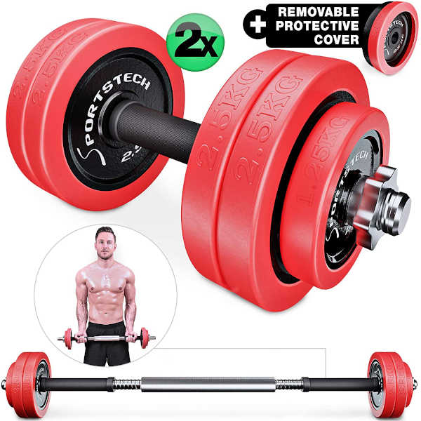 Sportstech 2in1 innovative Dumbbell & Barbell Set with Silicone Cover